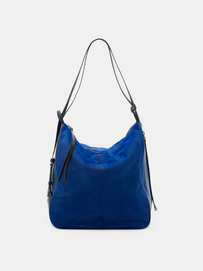 DKNY Haircalf And Leather Hobo Convertible Bag