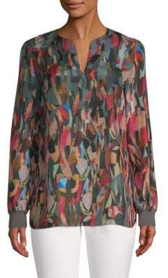 Lafayette 148 New York Roxy Silk Geometric Blouse