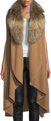 Alice + Olivia Beatrice Draped Wool-Blend Vest w/ Fox Fur