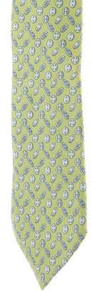 Hermes Button Print Silk Tie