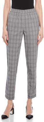 Kenneth Cole Satin Trim Glen Plaid Pants