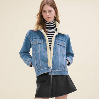 Maje Denim jacket with sheepskin detail