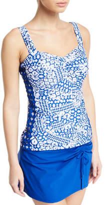 Gottex Profile by Diamond Batik D-Cup Ruched Tankini Swim Top