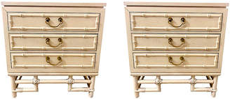 One Kings Lane Vintage Ficks Reed Faux Bamboo Side Tables,Set of 2 - Von Meyer Ltd.