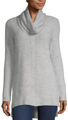 Liz Claiborne Pointelle Sweater With Infinity Scarf - Tall