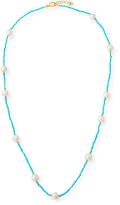 Dina Mackney Long Sleeping Beauty Turquoise & Pearl Necklace, 36""