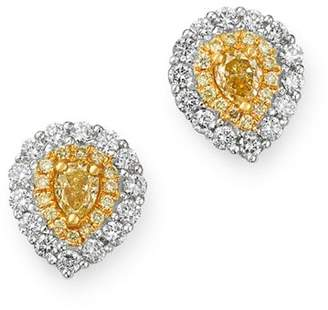 Bloomingdale's Pear Shaped Yellow & White Diamond Stud Earrings in 18K White & Yellow Gold - 100% Exclusive