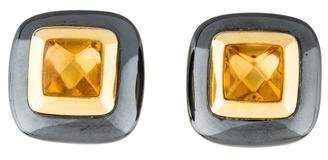 Damiani 18K Citrine & Hematine Earrings