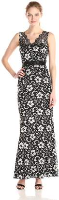 Betsy & Adam Women's Long Lace Scallop Neck with Belt, Black/Silver