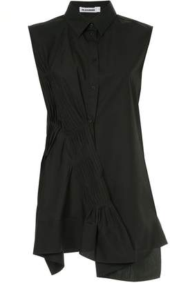 Jil Sander gathered pleat sleeveless shirt