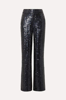Alice + Olivia Racquel Sequined Satin Wide-leg Pants - Navy