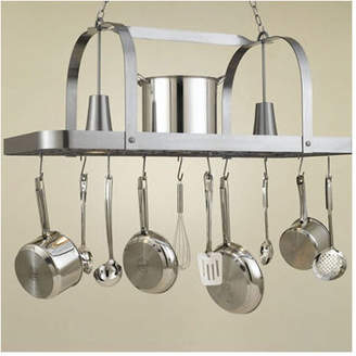 Hi-Lite Baker Large Rectangular Pot Rack with 2 Lights Base