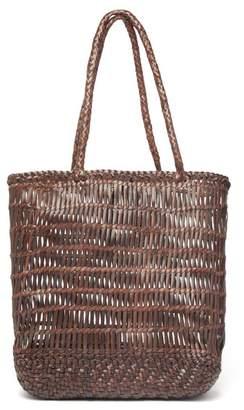 Dragon Optical Diffusion - Dora Woven Leather Tote Bag - Womens - Dark Brown