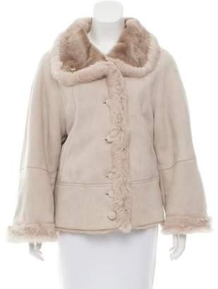 Armani Collezioni Fur-Trimmed Shearling Jacket
