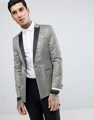 Asos DESIGN Skinny Tuxedo Suit Jacket In Gold Honeycomb Effect With Black Contrast Lapel