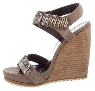Pierre Hardy Python-Trimmed Wedge Sandals