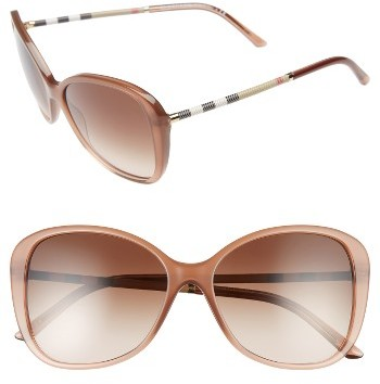 Women's Burberry 57Mm Butterfly Sunglasses - Nude