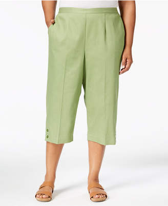 Alfred Dunner Plus Size Parrot Cay Button-Cuff Capri Pants
