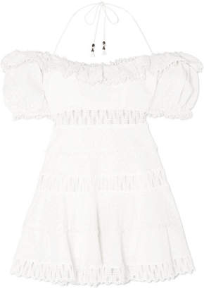 Zimmermann Melody Crochet-paneled Linen-blend Mini Dress - Ivory