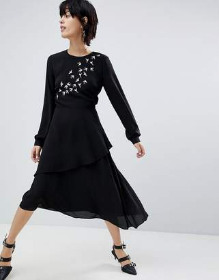 Warehouse Swallow Embroidered Dress