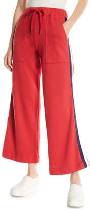 Sundry Flare-Leg Drawstring Sweatpants with Racer Stripes
