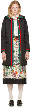 Gucci Black Long Quilted Web Jacket