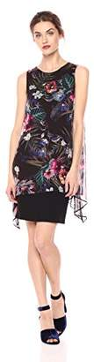 Daisy Drive Women's Sleeveless Asymmetric Floral Printed Chiffon Dress with Jersey Knit Layer