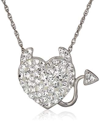 clear Sterling Silver Crystal Evil Heart Pendant Necklace