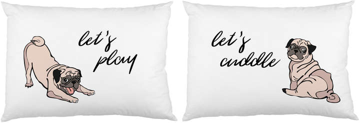 One Bella Casa Let's Play Let's Cuddle Pups Pillowcases (Set of 2)