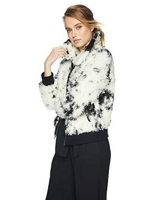7 For All Mankind Women's Curly Faux Sherpa Bomber Jacket