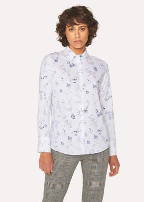 Paul Smith Women's White Cotton 'Paul's Sketchbook' Print Shirt