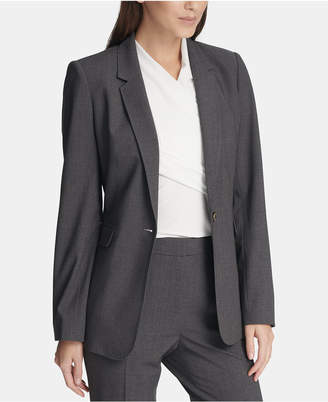 DKNY One-Button Jacket With Striped Cuffs