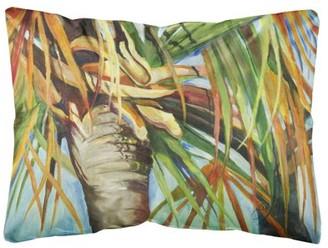 Caroline's Treasures Orange Top Palm Tree Canvas Fabric Decorative Pillow