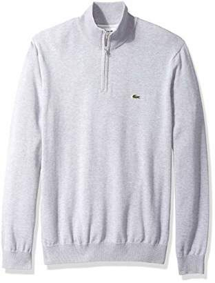 Lacoste Men's Long Sleeve 1/4 Zip Cotton Mock Neck Sweater Flour/Navy Blue
