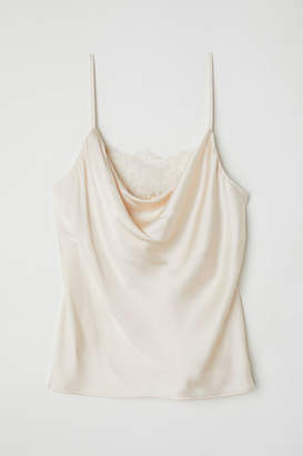 H&M Satin Camisole with Lace - Beige