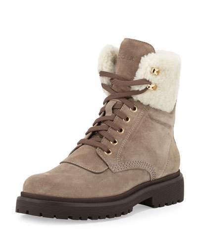 Moncler Patty Shearling Hiker Boot, Gray