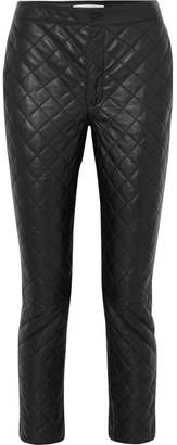 Frame Cropped Quilted Leather Straight-leg Pants - Black