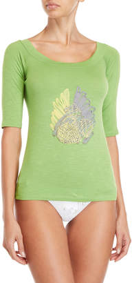 Save The Queen Slub Embroidered Cover-Up Tee