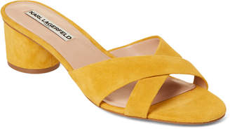Karl Lagerfeld Paris Canary Fawn Suede Slide Sandals