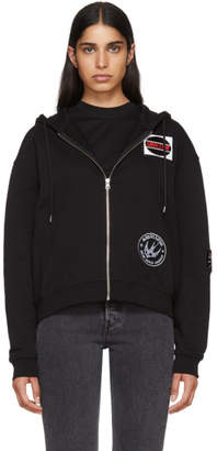 McQ Black Patch Slouch Zip Hoodie