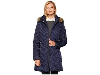 Andrew Marc Roxbury Matte Satin Down Fill Puffer 38 Faux Fur Trim Hood