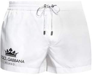 Dolce & Gabbana Logo Print Swim Shorts - Mens - White