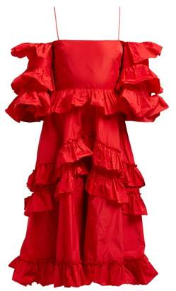 ALEXACHUNG Tiered Ruffle Off The Shoulder Midi Dress - Womens - Red
