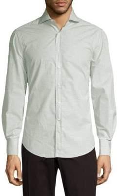 Brunello Cucinelli Geometric Cotton Button-Down Shirt