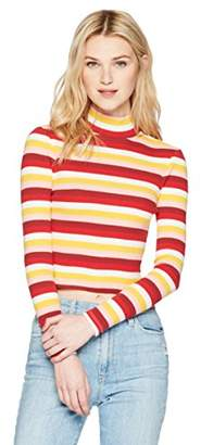 Hayden Rose Young Women's Teen Fine Ribbed Long Sleeve Turtle Neck Cropped Fitted T-Shirt X-Large Multicolor