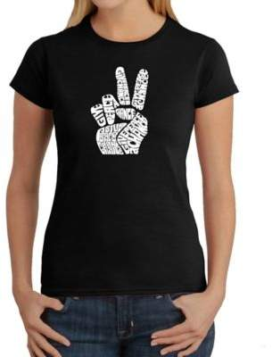 Women's Large Word Art Peace Fingers T-Shirt in Black $19.99 thestylecure.com