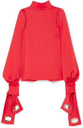 Self-Portrait Tie-detailed Satin Blouse - Red