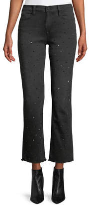 e3cf0d9403d5e Frame Le High Crystal-Stud Straight-Leg Cropped Jeans