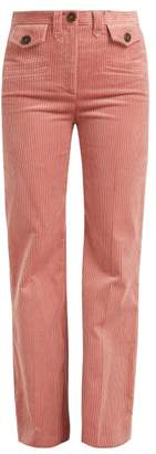 ALEXACHUNG Wide Leg Corduroy Trousers - Womens - Dark Pink