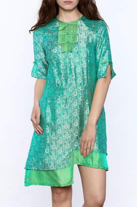 Dawn Sunflower Asymmetrical Silk Floral Dress